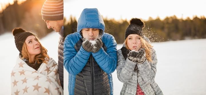 zimowe zdjęcie zaręczynowe