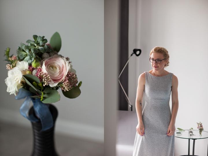 szara dresowa suknia ślubna zdjęcie